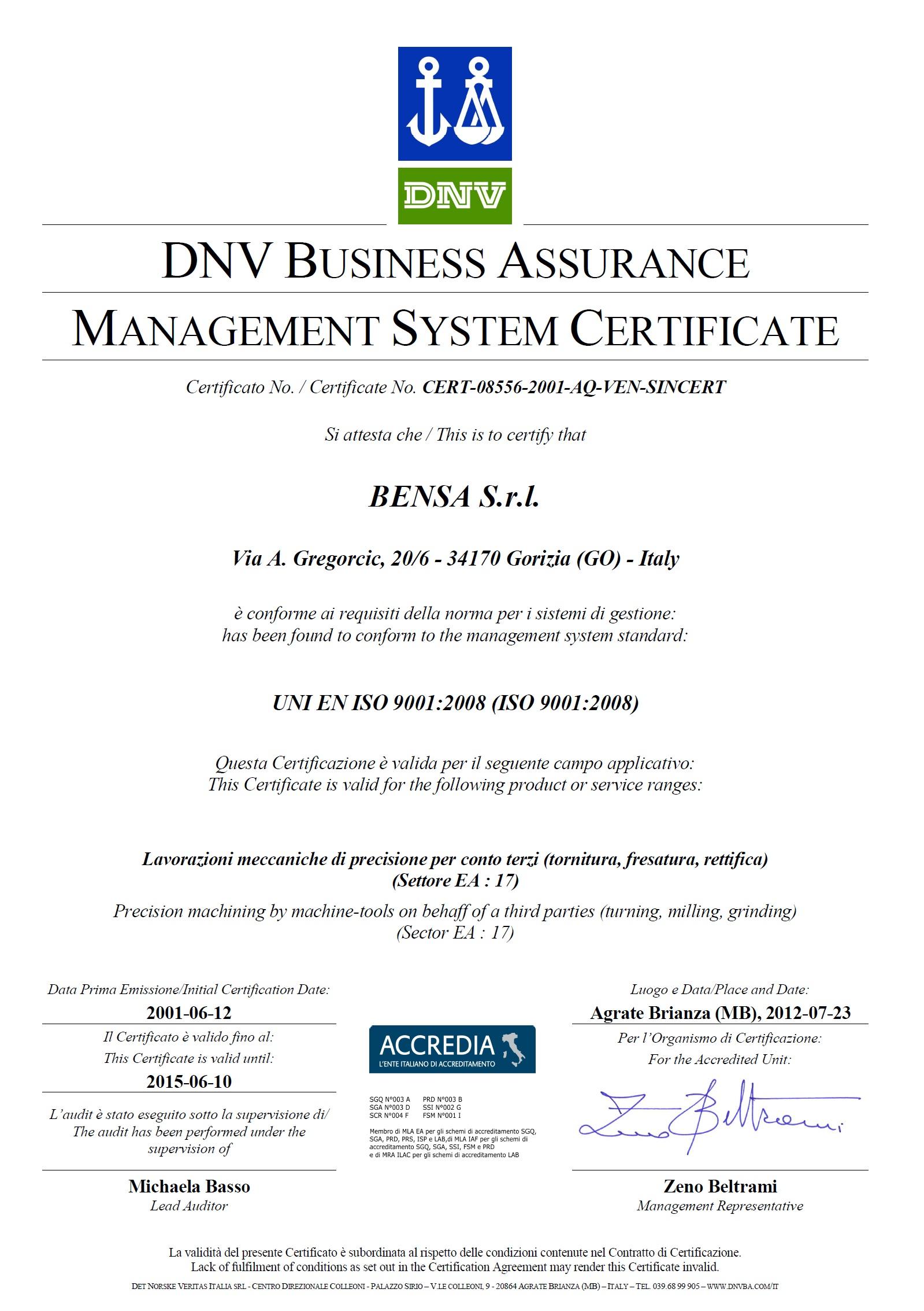Certificato Bensa